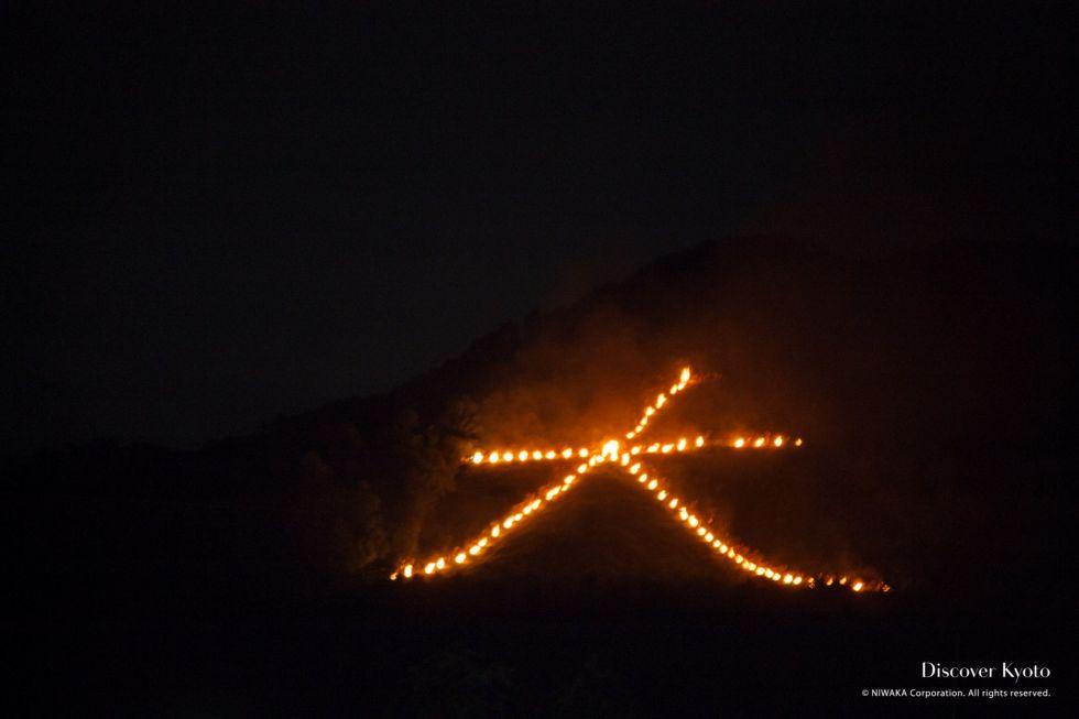 The famous Daimonji fire at the Arashiyama Gozan No Okurubi.