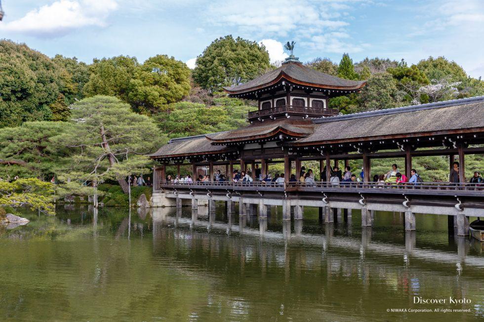 The Taihei-kaku (Bridge of Peace) and pond in the Shin'en Garden at Heian Shrine.