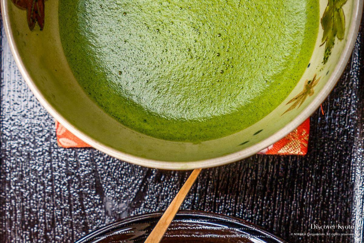Green Tea in Kyoto Shichijo Kanshundo Tea Close-Up