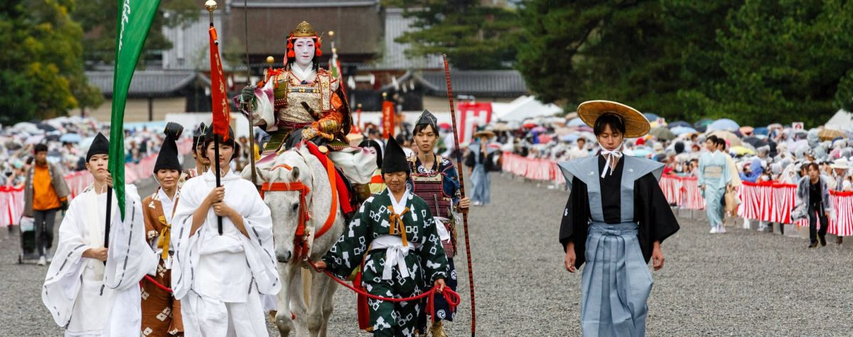 Tomoe Gozen participates in the parade during the Jidai Matsuri at Heian Shrine.