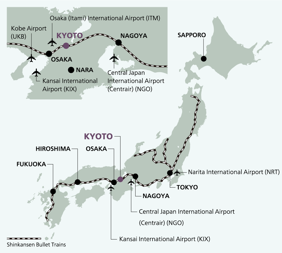 Access routes to Kansai