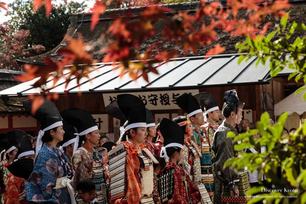Line of participants during the Yoroi Kizome-shiki at Kamigamo shrine.