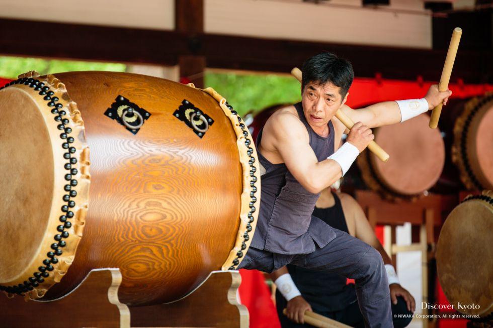 A drummer performs at Ajisai Matsuri at Fujinomori Shrine.