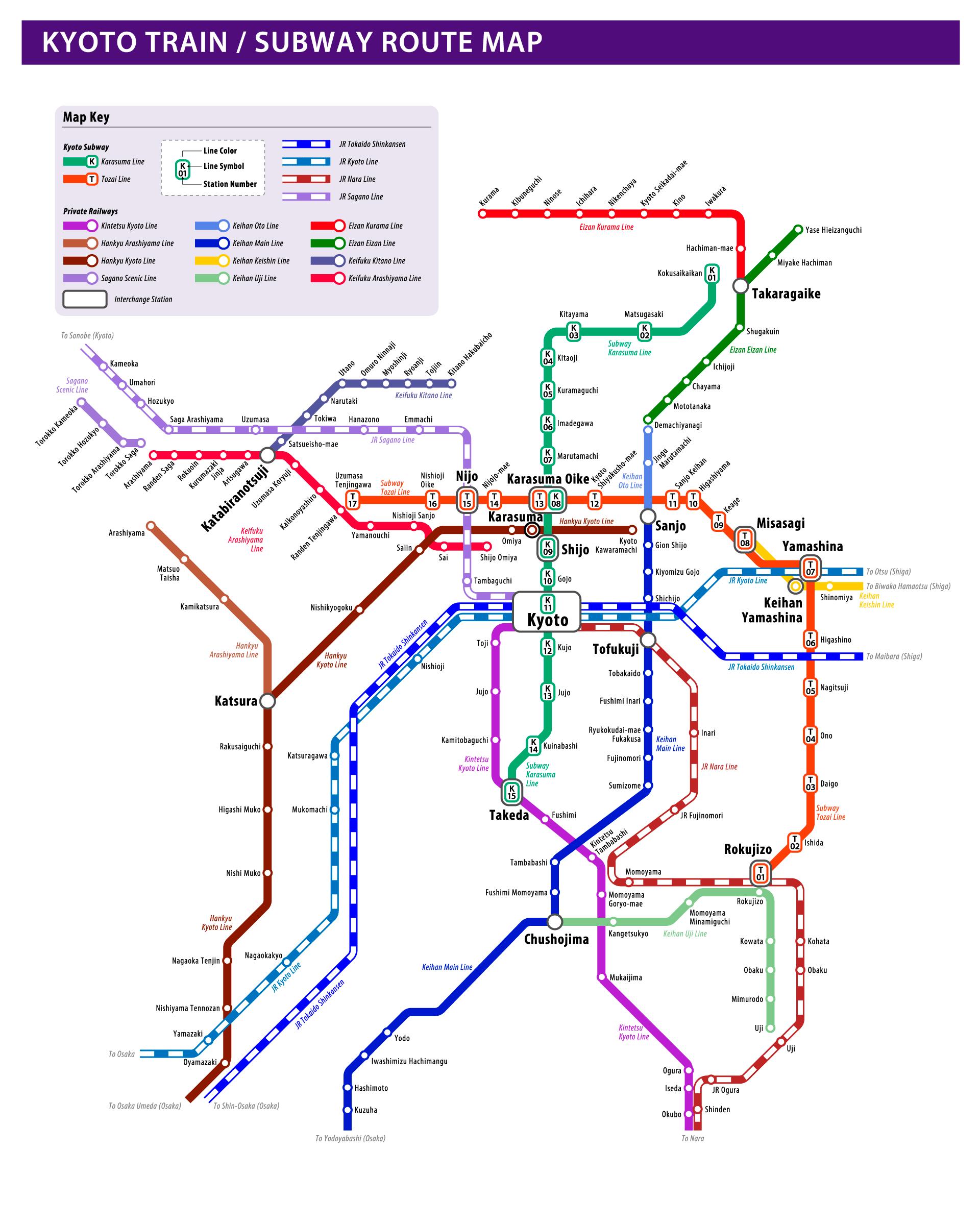 Kyoto Train / Subway Route Map
