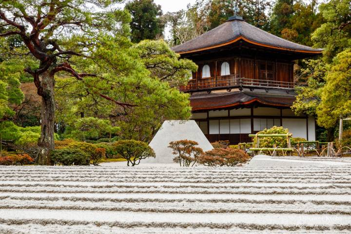 The Kannon-den Silver Pavillion and raked sand garden at Ginkaku-ji temple.