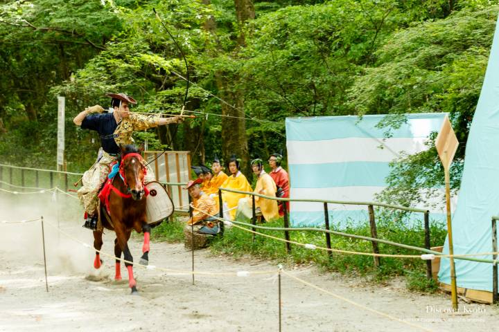Japanese archery on display at the Mounted Archery Ritual at Shimogamo Shrine.