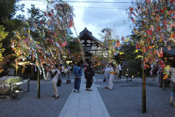 Colorful wishes flutter in the wind at Kōdai-ji.