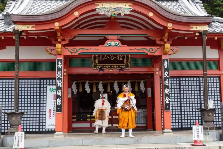 Mountain priests by the temple altar during the Aki Matsuri at Tanukidani-san Fudō-in.