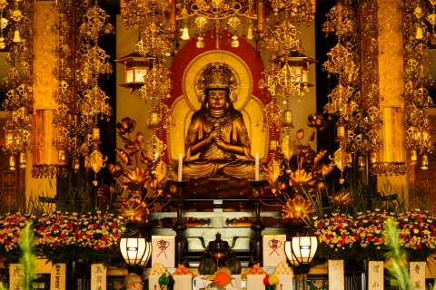 The altar during Aoba Matsuri at Chishaku-in.