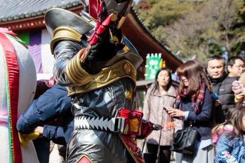 Local mascot character at the Mochi-age at Daigo-ji temple.
