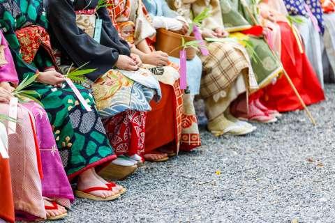 Kimono and sandals during the Kushi Matsuri comb festival at Yasui Konpiragū shrine.