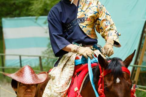 An archer displays his traditional clothing at the Mounted Archery Ritual at Shimogamo Shrine.