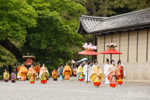 Court women in robes at Aoi Matsuri at the Kamo Shrines.
