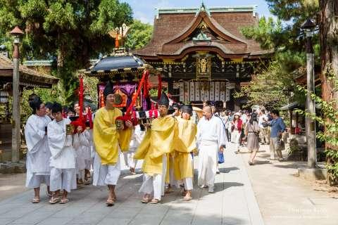 A parade during Zuiki Festival at Kitano Tenmangū.