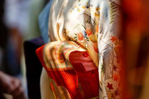 Kimono and obi during the Kushi Matsuri comb festival at Yasui Konpiragū shrine.