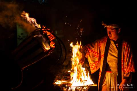 Watch fires are used to light the torches for the Kurama no Hi Matsuri at Yuki Shrine.