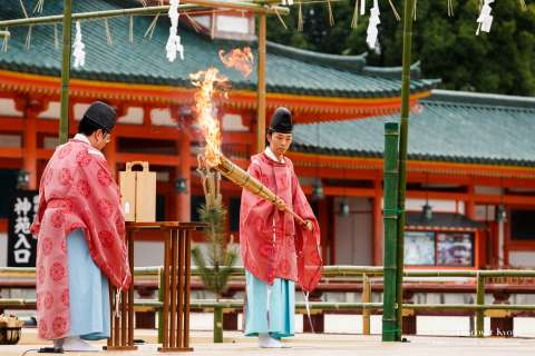 A fire lighting ceremony at Takigi Nō at Heian Shrine.