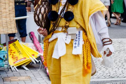 Man in costume during the Yoiyama nights of Gion Matsuri.
