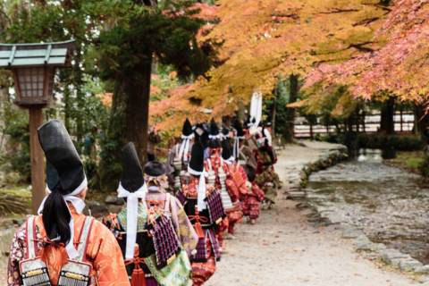The procession during the Yoroi Kizome-shiki at Kamigamo shrine.