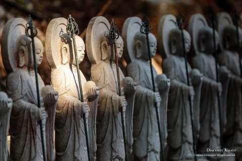Jizō statues at Daigo-ji temple.