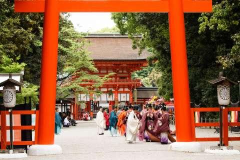 The main entrance to Shimogamo Shrine during the Aoi Matsuri festival.