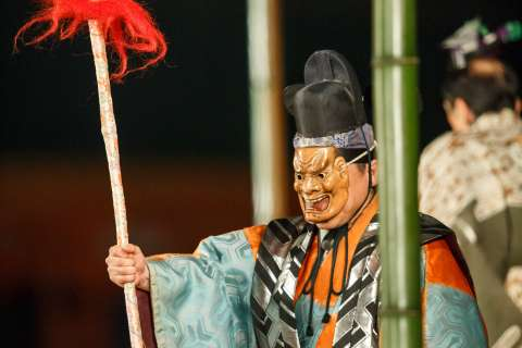The god of war appears at Takigi Nō at Heian Shrine.