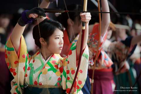 Archers prepare during the Ōmato National Archery Competition at Sanjūsangen-dō.