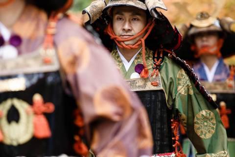 An person in armor during the Yoroi Kizome-shiki at Kamigamo shrine.