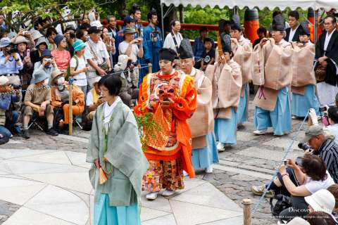 Monks and dancers proceed during Takekiri-eshiki at Kurama-dera.