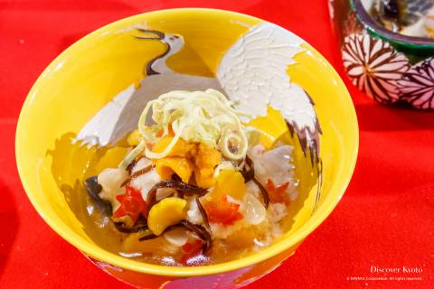 Kyo-ryori exhibition cuisine ceramics crane