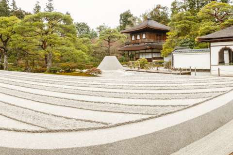 Panorama of dry landscape garden at Ginkaku-ji temple.