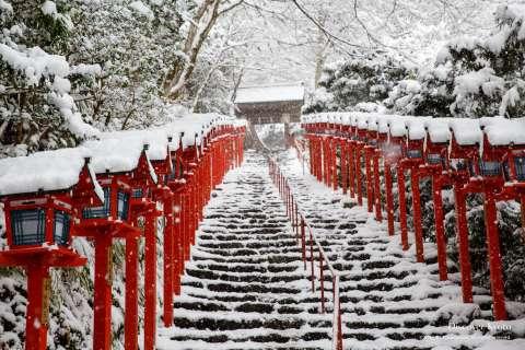 Snow on the lantern staircase at Kifune Shrine.