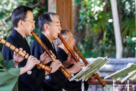 Shakuhachi flute performers at the Hagi Matsuri