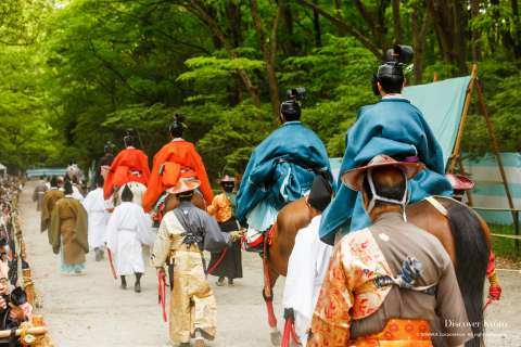 Archers dressed in traditional costumes at the Mounted Archery Ritual at Shimogamo Shrine.