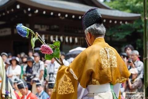 A ritual before the kemari game at Ajisai Matsuri at Fujinomori Shrine.