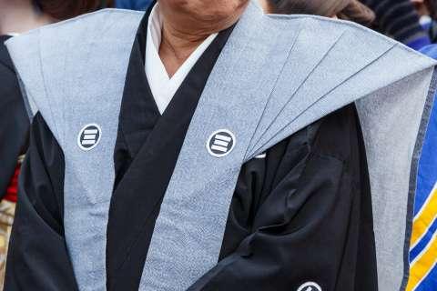 An actor participating in the Hoikago Procession at Tōka Ebisu at Kyoto Ebisu Shrine.