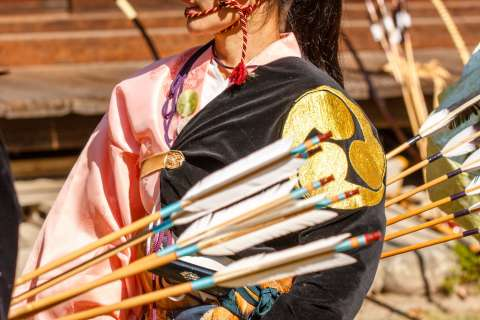 Each archer wears a distinctive costume at the Kasagake Shinji at Kamigamo Shrine.