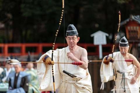 Priests participate in Musha Jinji at Kamigamo Shrine.