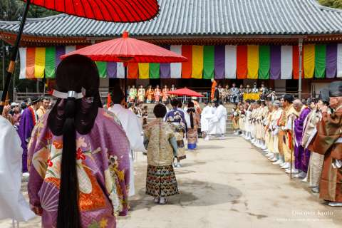 The procession makes its way during Hōtaikō Hanami Gyōretsu at Daigo-ji.