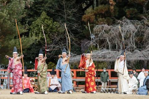 Participants line up during Musha Jinji at Kamigamo Shrine.
