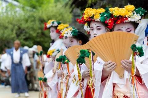 Festive Yaotome dancers gather at the Zuiki Matsuri in 2013.
