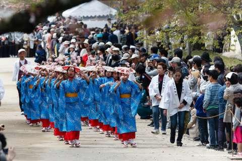Local girls sing during the 2015 Hōtaikō Hanami Gyōretsu at Daigo-ji.