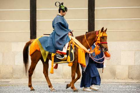 An official on horse at Aoi Matsuri at the Kamo Shrines.