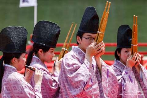 Gagaku musicians entertain at Mifune Matsuri at Kurumazaki Jinja.