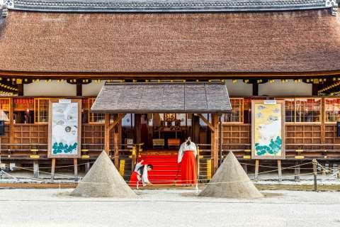 Priestesses prepare for Kigen-sai at Kamigamo Shrine.