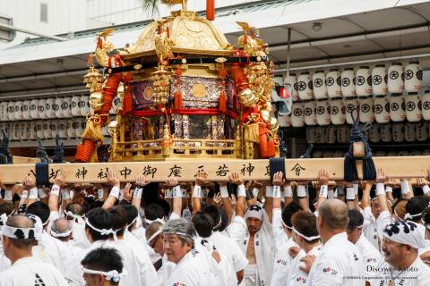 Men carry a portable shrine during the Mikoshi Procession of Gion Matsuri.