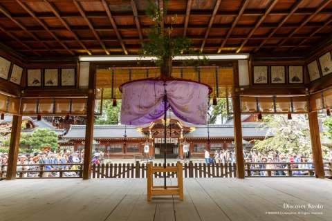Haiden stage during the Yasurai Festival at Imamiya Shrine.
