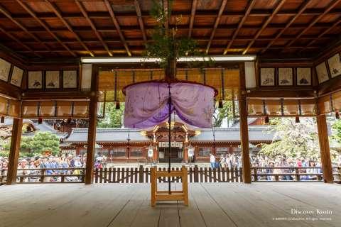 Haiden stage during the Yasurai Festival at Imamiya Shrine.