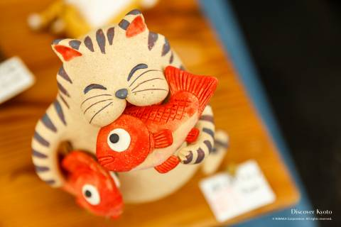 Kiyomizuyaki no Sato Matsuri ceramics cat figurine