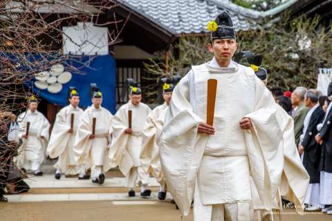 Priests during the Baikasai tea ceremony at Kitano Tenmangu shrine.